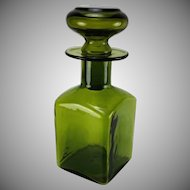 Vintage Rainbow Art Glass Mid Century Decanter With Stopper Green