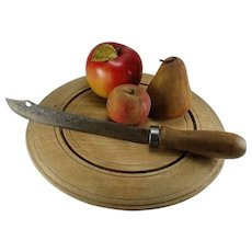 Vintage Round Wooden Bread Board With Bread Knife