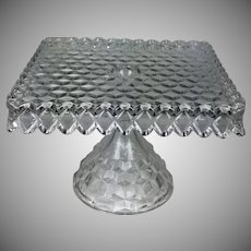 Vintage Fostoria Glass American Square Cake Pedestal Salver Stand Rum Well