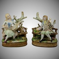 Vintage Japan Orion Bisque Figurines Pair -Garden Scene - Exquisite