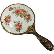 Vintage Porcelain Hand Mirror Roses Transfer Repousse Brass Handle