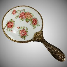Vintage Porcelain Hand Mirror Roses Transfer Repousse Brass Handle