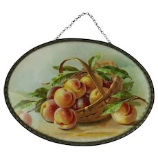 Antique Victorian Flue Cover Peaches Fruit in Basket Germany Vintage