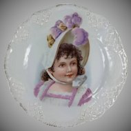 Victorian Young Girl Child Portrait Plate Pierced Border Vivid Colors