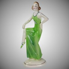 Katzhutte Art Deco Lady Dancer Porcelain Figure Hertwig Co. Germany