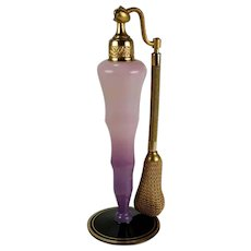 DeVilbiss Art Deco Glass Perfume Atomizer Stemmed Bottle Lavender & Black