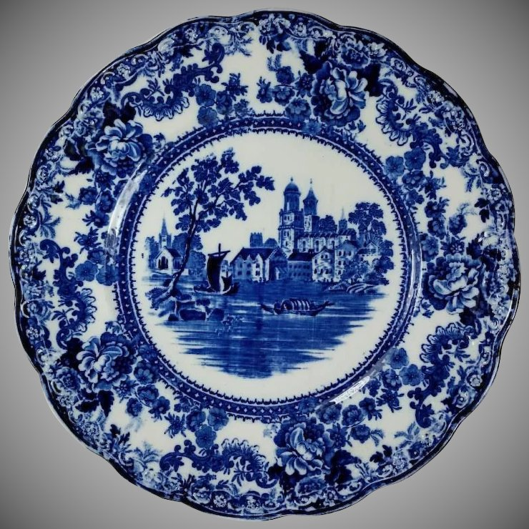 Dark Flow Blue Dinner Plate TOGO River Scene F. Winkle England Colonial Pottery : blue dinner plate - pezcame.com