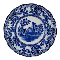 SET 2 Flow Blue Dinner Plate TOGO River Scene  F. Winkle England Colonial Pottery