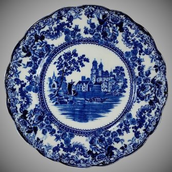 Dark Flow Blue Dinner Plate TOGO River Scene  F. Winkle England Colonial Pottery