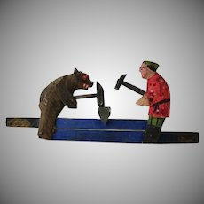 Vintage Russian Blacksmith Bear Motion Toy Mechanical