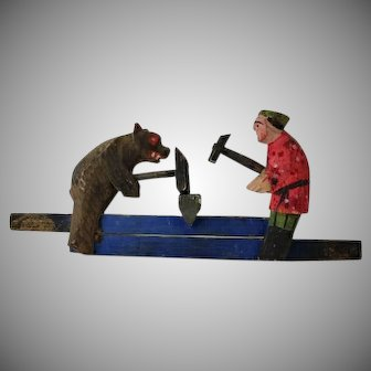Vintage Russian Blacksmith Bear Motion Toy Anvil Hammer Russia Hand        Painted Mechanical