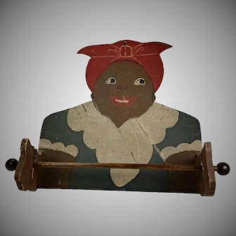 Vintage Black Americana Mammy Wood Towel Holder Brown Face 1940s