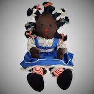 Vintage 1970s Black Americana Cloth Rag Doll