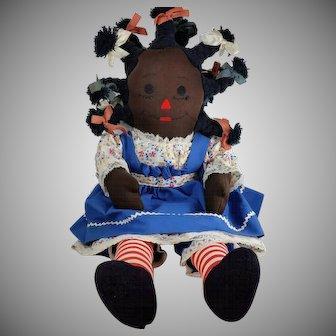 Vintage 1970s Black Americana Cloth Rag Doll