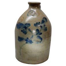 Antique Stoneware Jug Cobalt Floral Decorated N. Clark Jr Athens NY