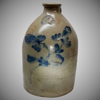 Antique Stoneware Jug Cobalt Floral Decorated N. Clark Jr Athens NY