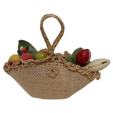 Vintage Miniature Woven Straw Doll Purse Fruit Tote 1940s