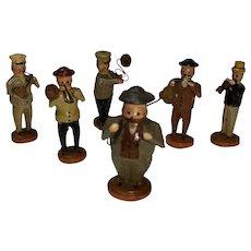 Antique German Miniature Wooden Putz Band Figures 6 Pc Erzgebirge Vtg