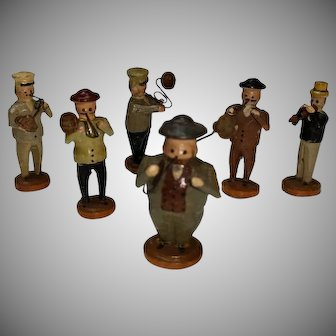 Antique German Miniature Wooden Putz Band Figures 6 Pc Erzgebirge Vtg