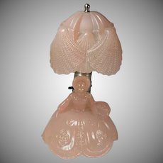 Depression Era Pink Southern Belle Glass Boudoir Lamp & Original Shade