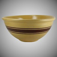 Vintage Weller Pottery Yelloware Bowl Brown Banded Large 12 Inch