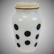 Vintage Black Dots Salt Shaker Milk Glass Anchor Hocking