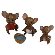 Josef Originals Mice Figures Set 4 Mom Dad Child Babies