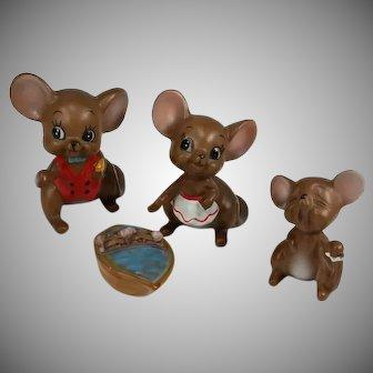 Josef Originals Mice Figures Set 4 Mom Dad Child Babies