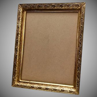 Vintage Gold Gilt Brass Photograph Frame Embossed Flowers & Lattice