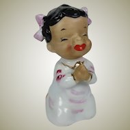 Vintage Black Americana Bell Japan Adorable Little Girl Bedtime Prayer