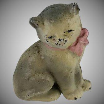 Vintage Cast Iron Paperweight Miniature Cat Kitten Original Paint