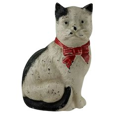 Vintage Cast Iron Black White Cat Penny Bank John Wright 1960s 1970s