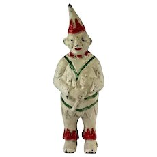 Vintage Cast Iron Jester Clown Gnome Penny Bank John Wright 1960s 1970s