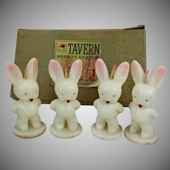 1571	Tavern Gurley Bunny Easter Candles Orig Box Unused Vintage Rabbits
