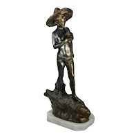 Giovanni Varlese Bronzed Spelter Fisherman Sculpture Figure Early 20th Century