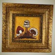 Vintage Mid Century Mushrooms Oil Painting Tom Thumb Originals Miniature