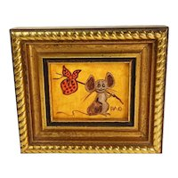 Vintage Mid Century Hobo Mouse Oil Painting Tom Thumb Originals Miniature