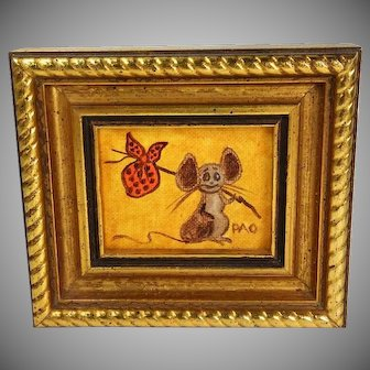 Vintage Mid Century Hobo Mouse Oil Painting Tom Thumb Originals Miniature