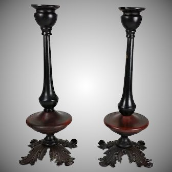 Vintage Cast Iron Wooden Candlesticks Ebonized Details 19th Century