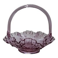 Fenton Art Glass Basket Dusty Rose Cabbage Roses Handler Junior Thompson