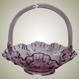 Fenton Art Glass Basket Dusty Rose Cabbage Roses Handler Junior Thompson