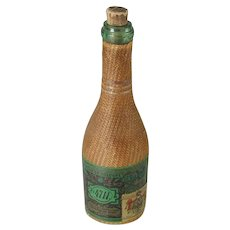 Antique Eau de Cologne No 4711 Bottle Wicker Covered Parfumerie Fabrik Glockengasse Germany