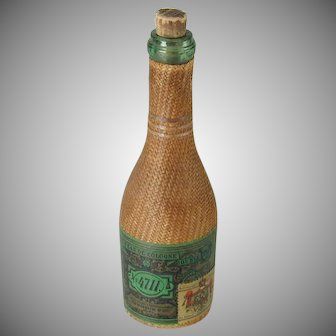 Antique Eau de Cologne No 4711 Bottle Wicker Covered Parfumerie Fabrik Glockengasse Germany