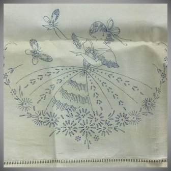 Vintage PAIR Embroidery Pillow Cases Petticoat Lady Butterfly Never Used