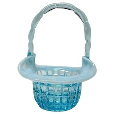 Fenton Art Glass Basket Blue Opalescent WAFFLE Pattern Rare Short Production