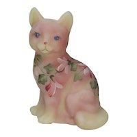 Fenton Art Glass Figural Cat Burmese Satin Hand Painted Artist Signed Kitten