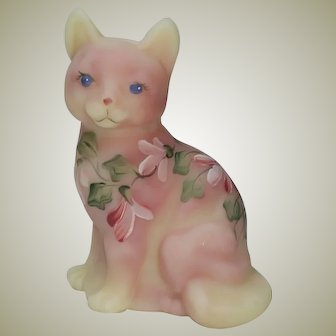 Fenton Art Glass Figural Cat Burmese Satin Hand Painted Artist Signed Kitten