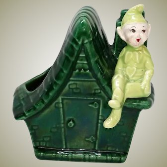 Vintage Lime Green Elf on Cottage Pottery Planter 1950s Hearts Pixie Sprite