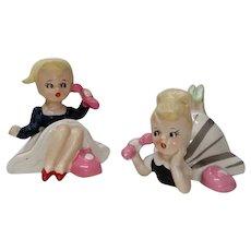 Vintage 1950s PAIR Crinoline Girls Figurines With Pink Phones Japan