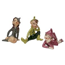 Trio of Vintage Pixie Elf Figurines Different Poses Set 3